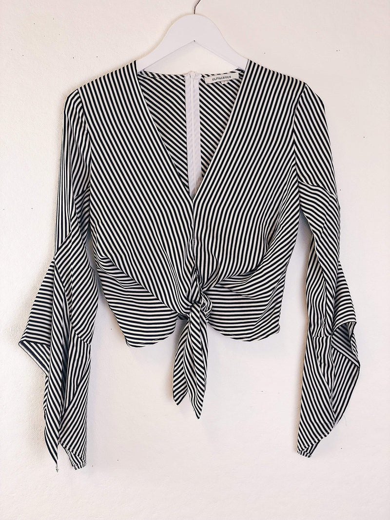 Bates Striped Top BlackWhite