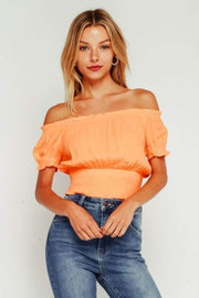Olivaceous Tops Blouse Large / Cantaloupe / 29-551LTH Marinna Off the Shoulder Crop Top Cantaloupe