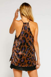 Olivaceous Tops Blouse Satin Leopard Lace Tank Multi