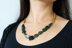 OohJacquelina Private Collection One Size / Gold/Multi ADVENTURINE NECKLACE