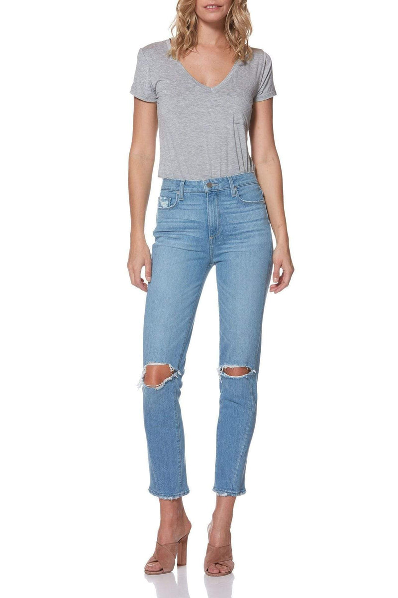 Paige Denim Hoxton Slim Twisted Side Seam Camina Destructed