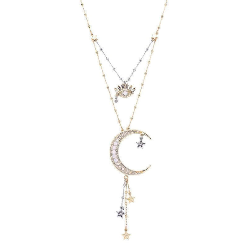 Astrid Half Moon Double Drop Necklace Gold