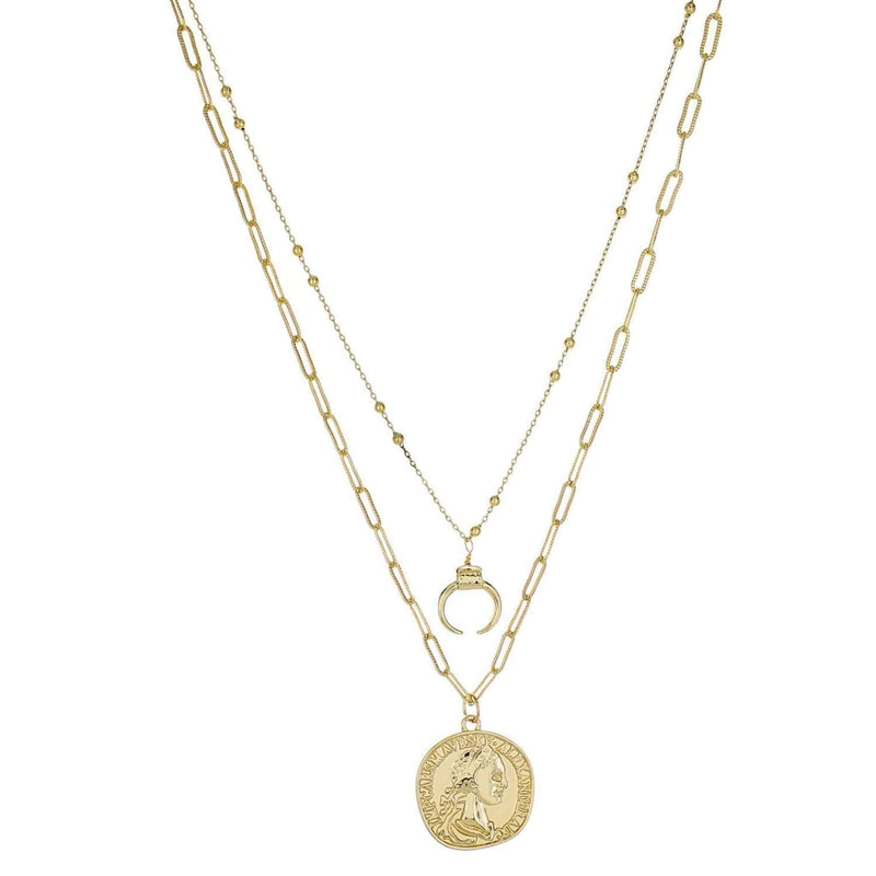 Carter Coin Double Layer Necklace Gold
