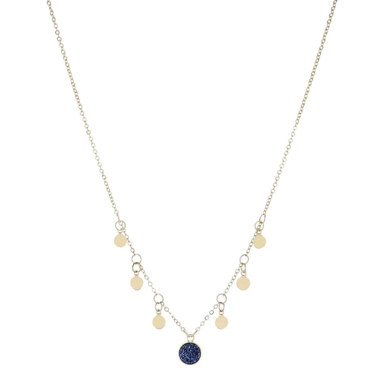 Mini Gold Circle Necklace Navy