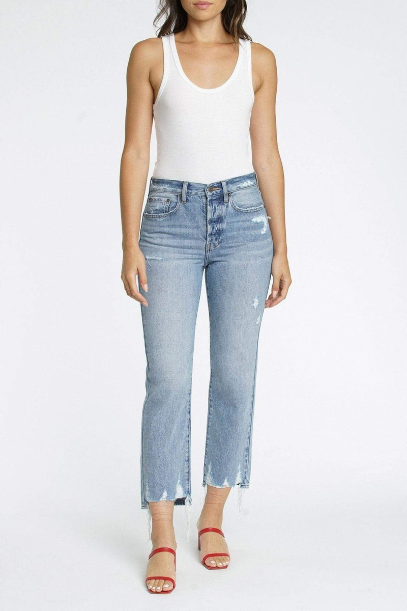Charlie Ruthless High Rise Straight Leg Denim Light Blue