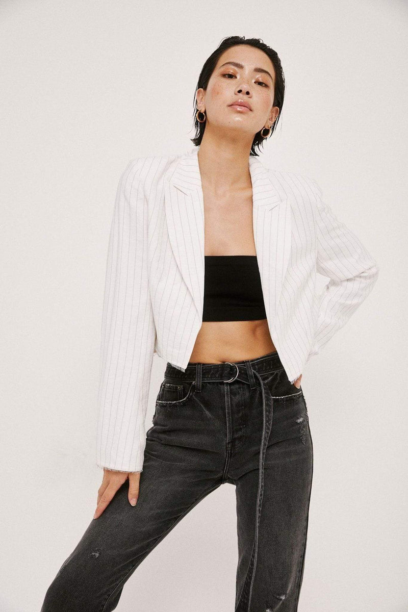 Pistola Jacket Amilia Raw Edge Cropped Blazer White/Black