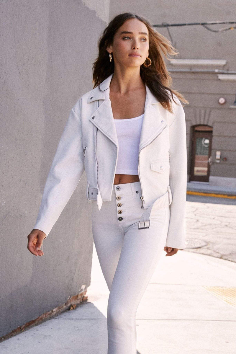 Pistola Jacket Daya White Light Boyfriend Moto Jacket Ice