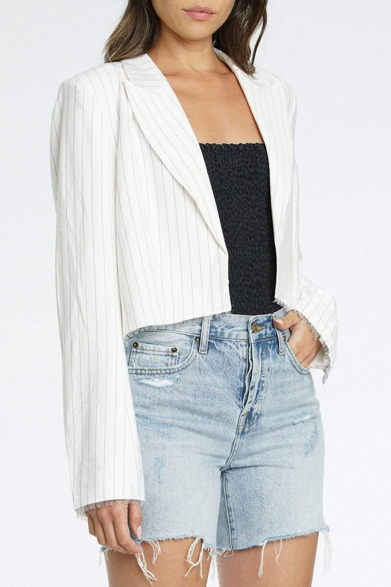 Pistola Jacket X Small / White/Black / P5208JME-WBS Amilia Raw Edge Cropped Blazer White/Black