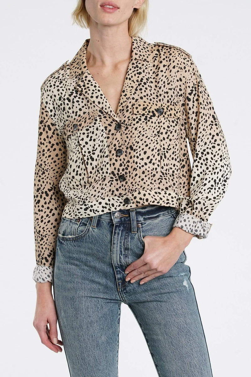 Pistola Tops Blouse X Small / Multi / P5253RMS-WSC Kane Wild Spots Cropped Military Shirt Multi