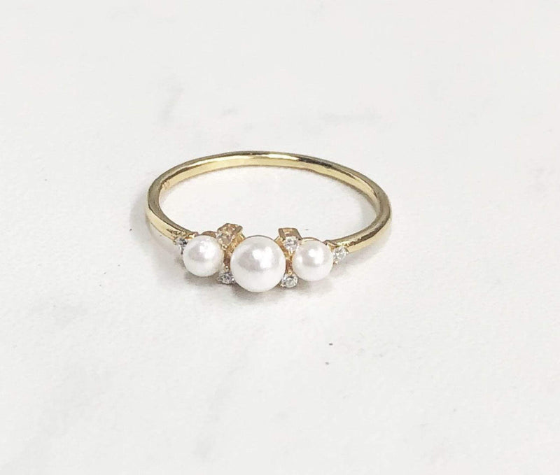 PK Jewlery Earring Elise Pearl Ring Gold/.925 Sterling Silver