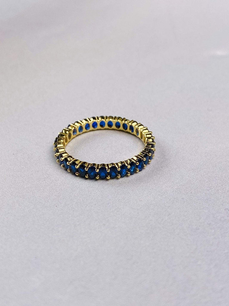 PK Jewlery Earring Size 5 / Gold/.925 / CZRIBA1D682 Azure Sapphire Oval Pave Ring Gold/.925 Sterling Silver