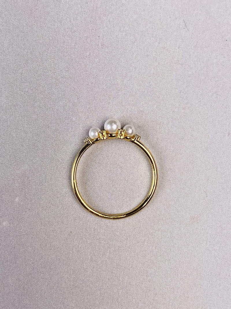 PK Jewlery Earring Size 5 / Gold/.925 Elise Pearl Ring Gold/.925 Sterling Silver