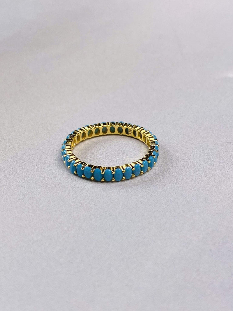PK Jewlery Ring Size 5 / Gold/.925 Azure Turquoise Oval Pave Ring Gold/.925 Sterling Silver