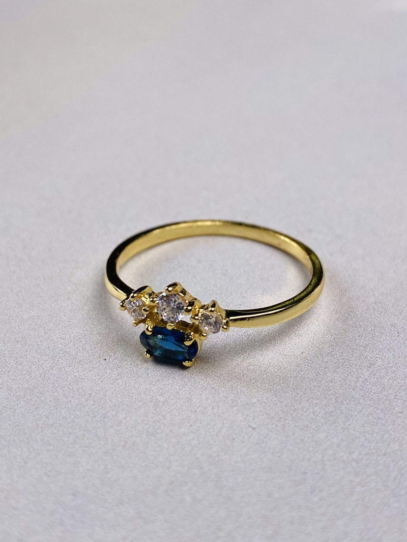 PK Jewlery Ring Size 5 / Gold/.925 Rhea Sapphire Ring Gold/.925 Sterling Silver