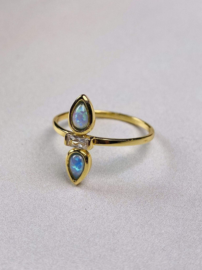 PK Jewlery Ring Size 5 / Gold/.925 Tiene Opal Baguette Ring Gold/.925 Sterling Silver