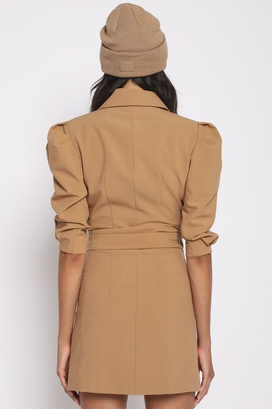 Quarter to Five Dress Lalita Double Breasted Blazer Dress Camel