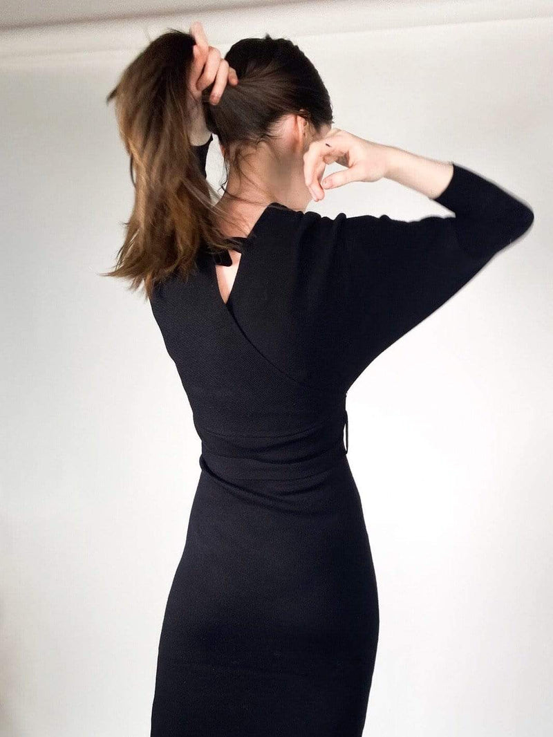 RD Style Dress Brighton Midi Sweater Dress Black