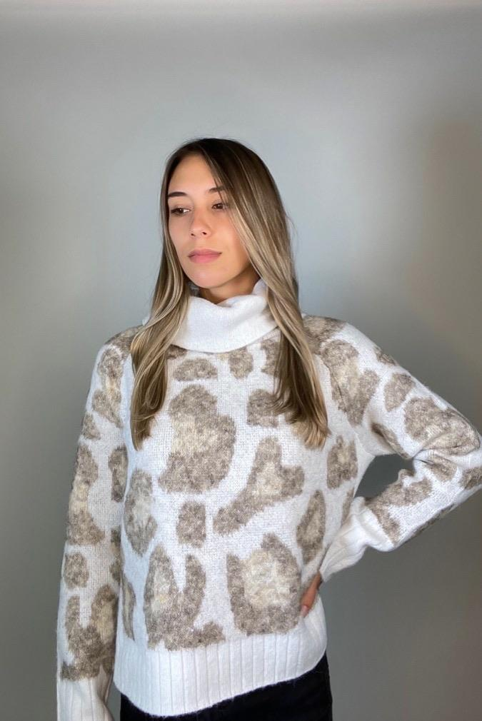 RD Style Sweater Bhutan Leopard Turtleneck Sweater Winter Mix