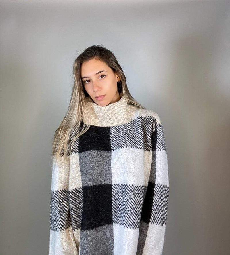 RD Style Sweater Hudson Check Knit Turtleneck Grey/Sand