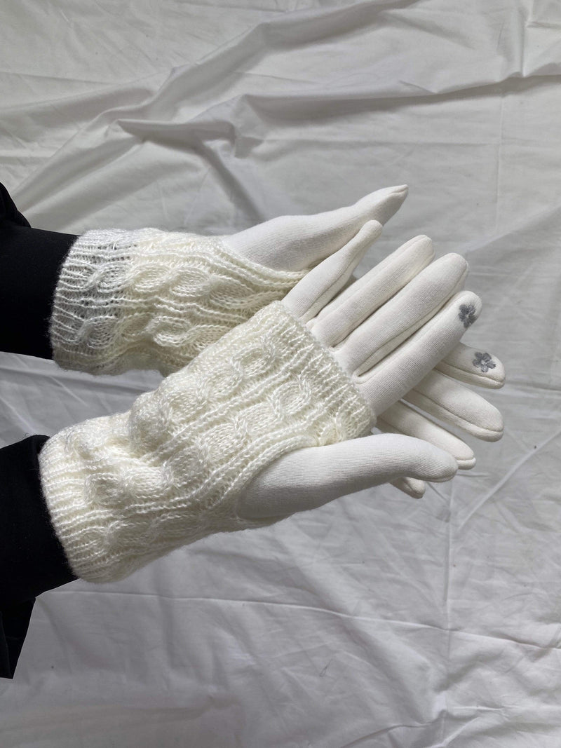 ReFine Accessories One Size / Ivory / GLV-170-125 Atlas Double Layer Knit Gloves Ivory
