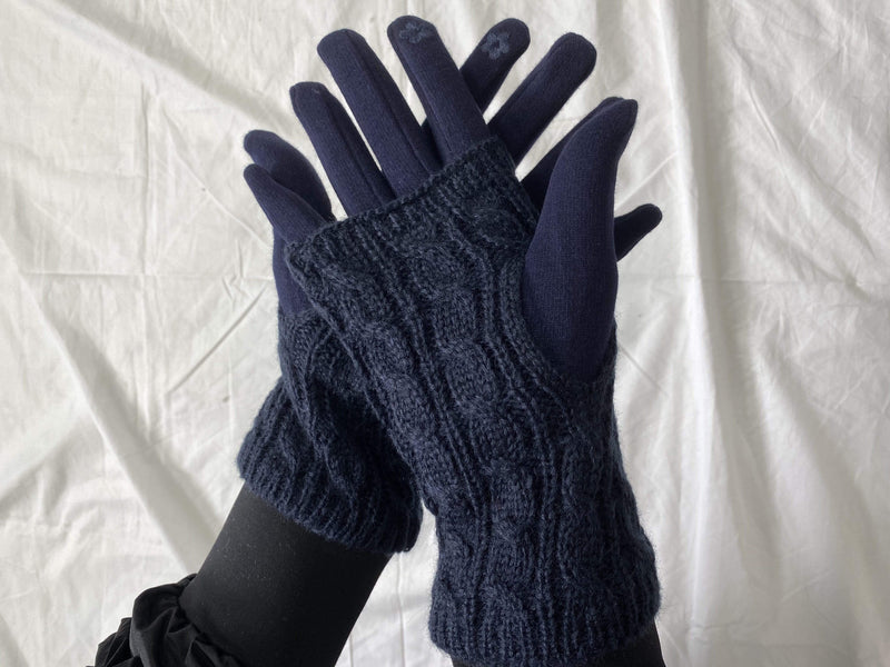 ReFine Accessories One Size / Navy / GLV-170-125 Atlas Double Layer Knit Gloves Navy