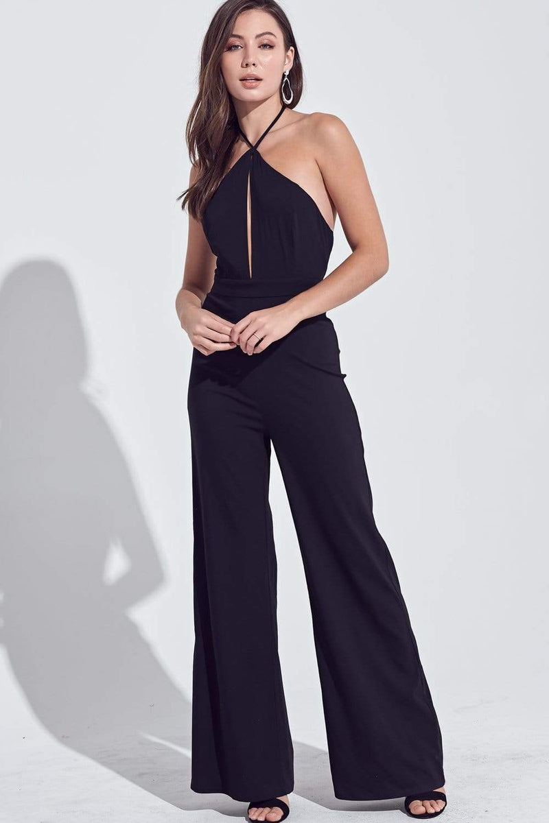Aiken Cut Out Halter Jumpsuit Black