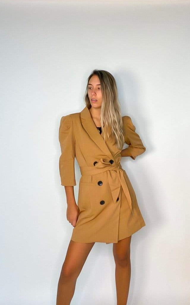 ReFine Dress Lalita Puff Sleeve Double Breasted Blazer Dress Camel