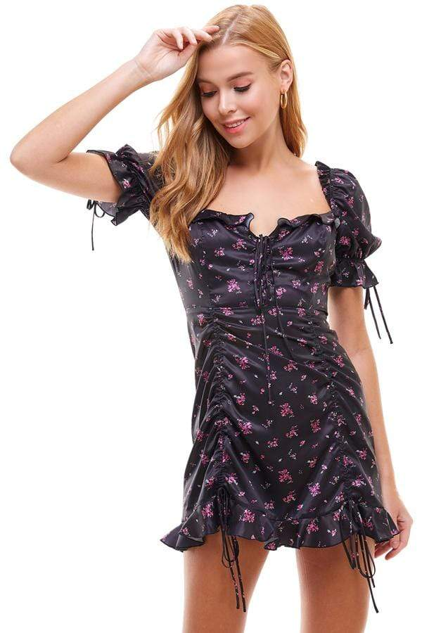ReFine Dress Small / Black / ACD70056A Derby Lace Up Floral Mini Dress Black