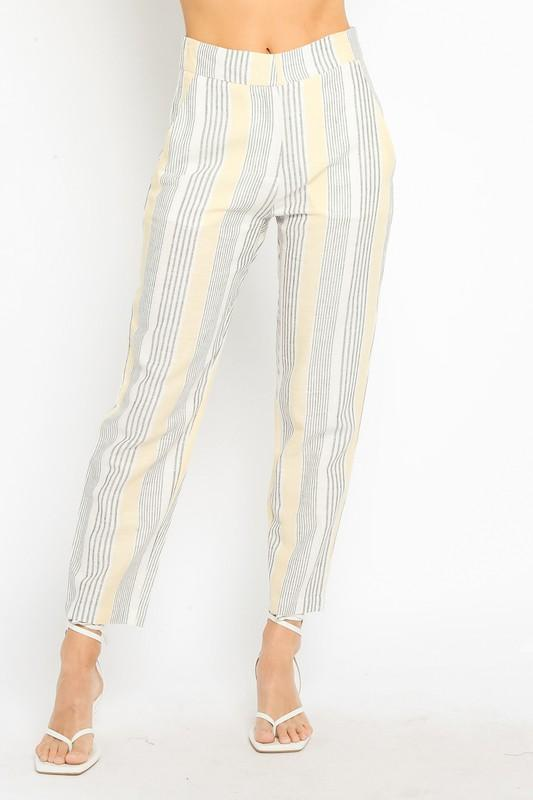 ReFine Pants Albany Striped High Waisted Pants Yellow/Navy