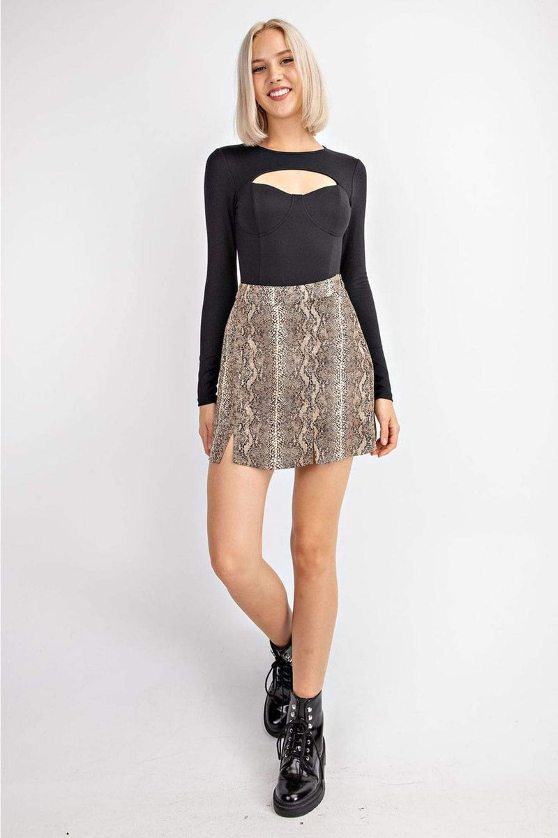 Aoife Snake Print Skirt Brown