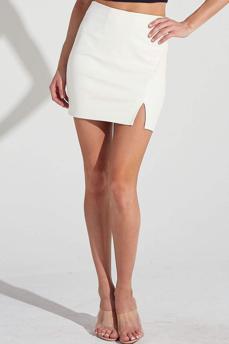 Mabel Front Side Slit Detail Mini Skirt Off White