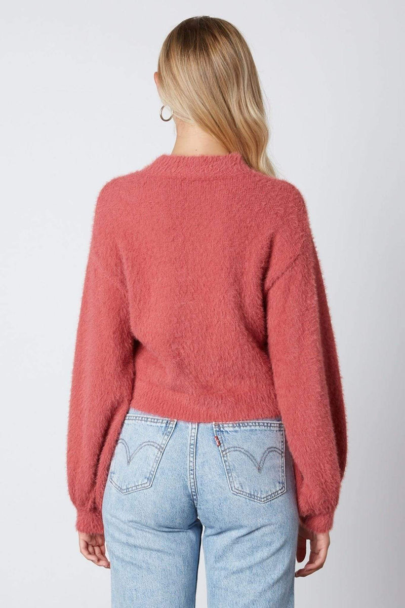 ReFine Sweater Avalyn Fuzzy Mock Neck Sweater Mauve