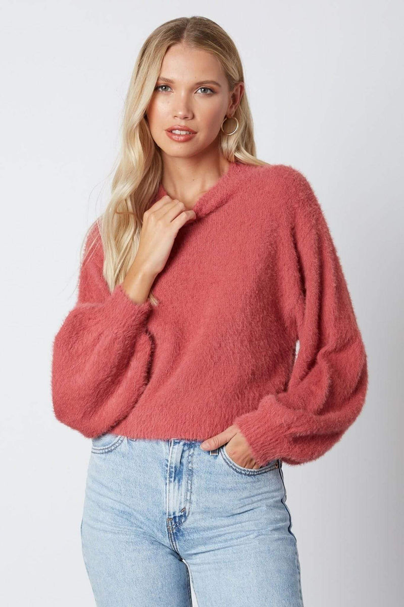 ReFine Sweater S/M / Mauve / CS-10124 Avalyn Fuzzy Mock Neck Sweater Mauve