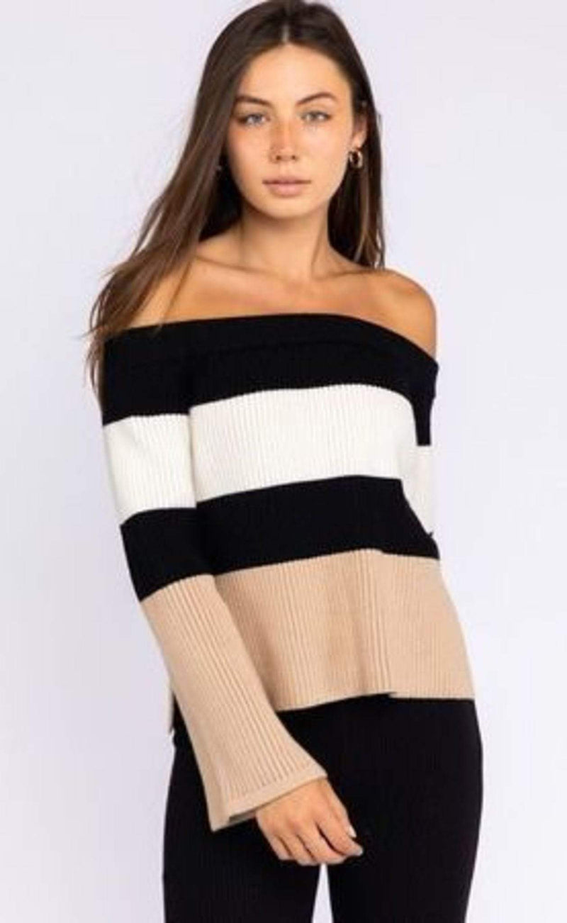 Zoe Off The Shoulder Sweater BlackWhiteTan