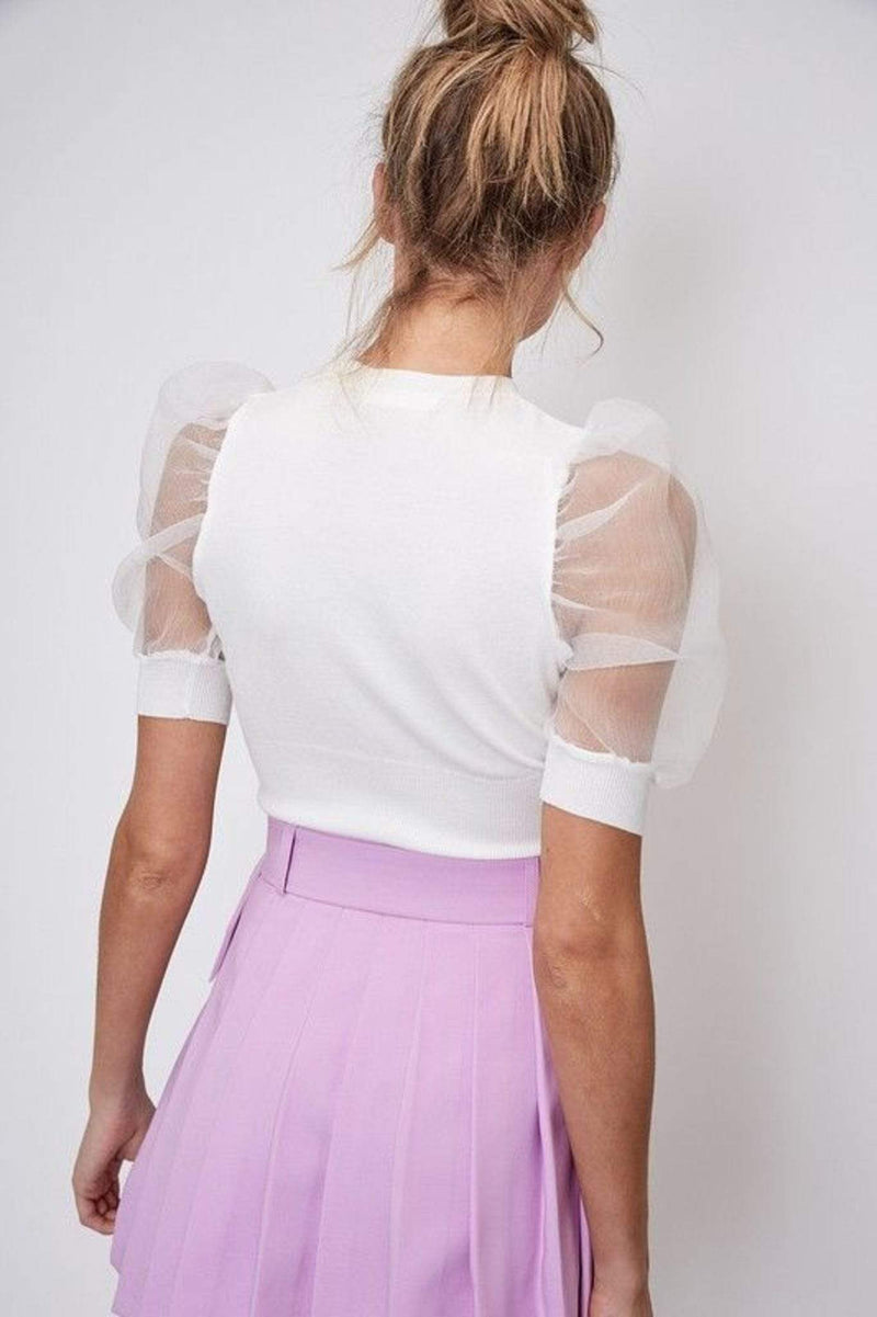 ReFine Tops Blouse Ailish Organza Puff Short Sleeve Top Off White