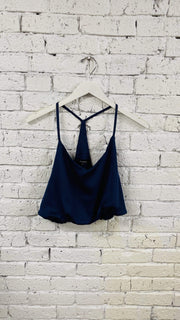 ReFine Tops Blouse Ashton Satin Bubble Crop Top Midnight Blue