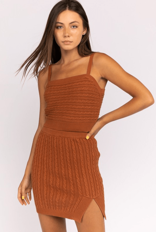 ReFine Tops Blouse Birch Cable Knit Crop Top Brown