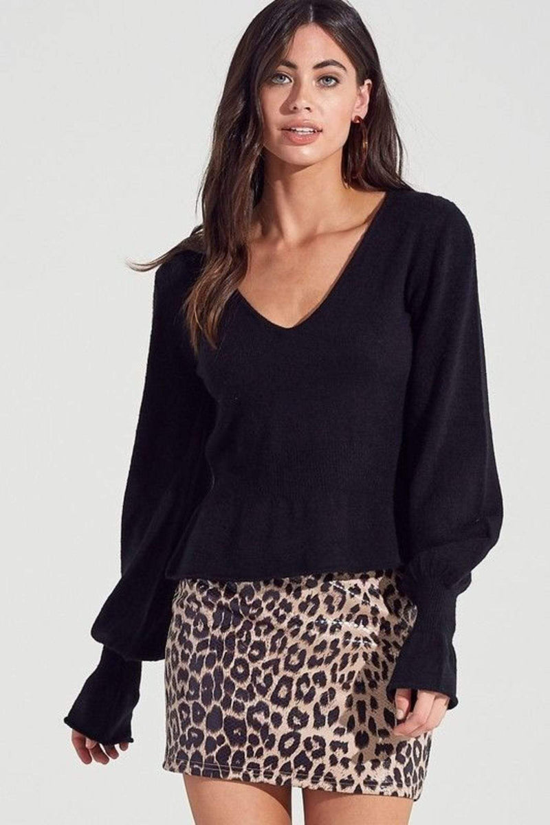 Emmett Ribbed Long Sleeve Knit Top Black