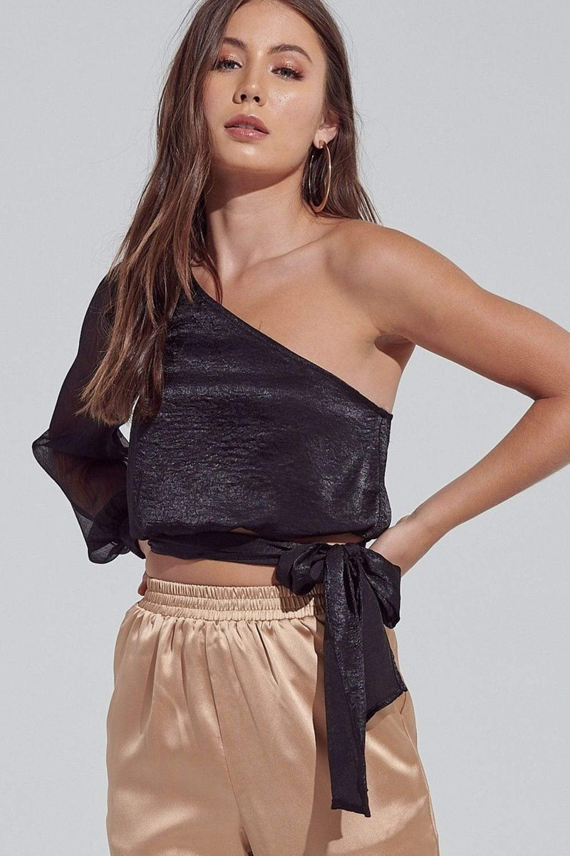 ReFine Tops Blouse Small / Black / BT90478 Adlai One Shoulder Satin Crop Top Black