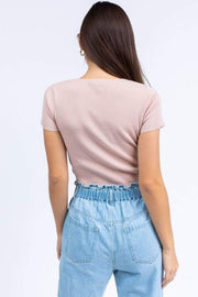 ReFine Tops Blouse Tabitha Ribbed Crop Top Dusty Pink