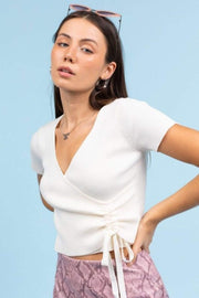 ReFine Tops Blouse Tabitha Ribbed Crop Top White