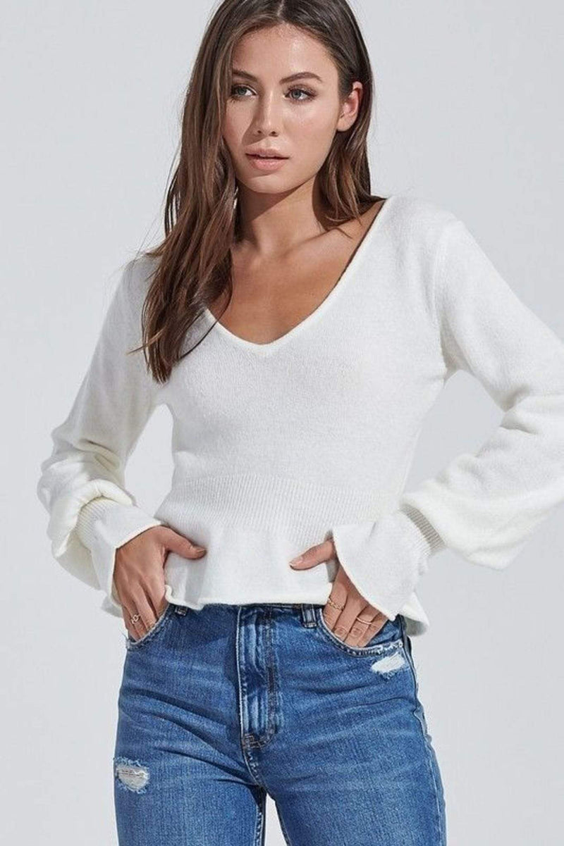 Emmett Ribbed Long Sleeve Knit Top Ivory