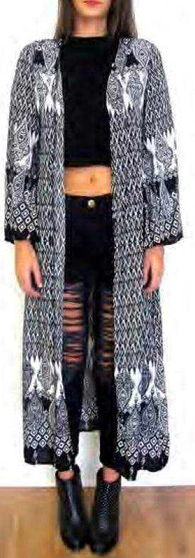 Reverse Jacket Long Party Print Kimono