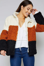 Sadie & Sage Jacket Too Much Teddy Jacket Camel Multi