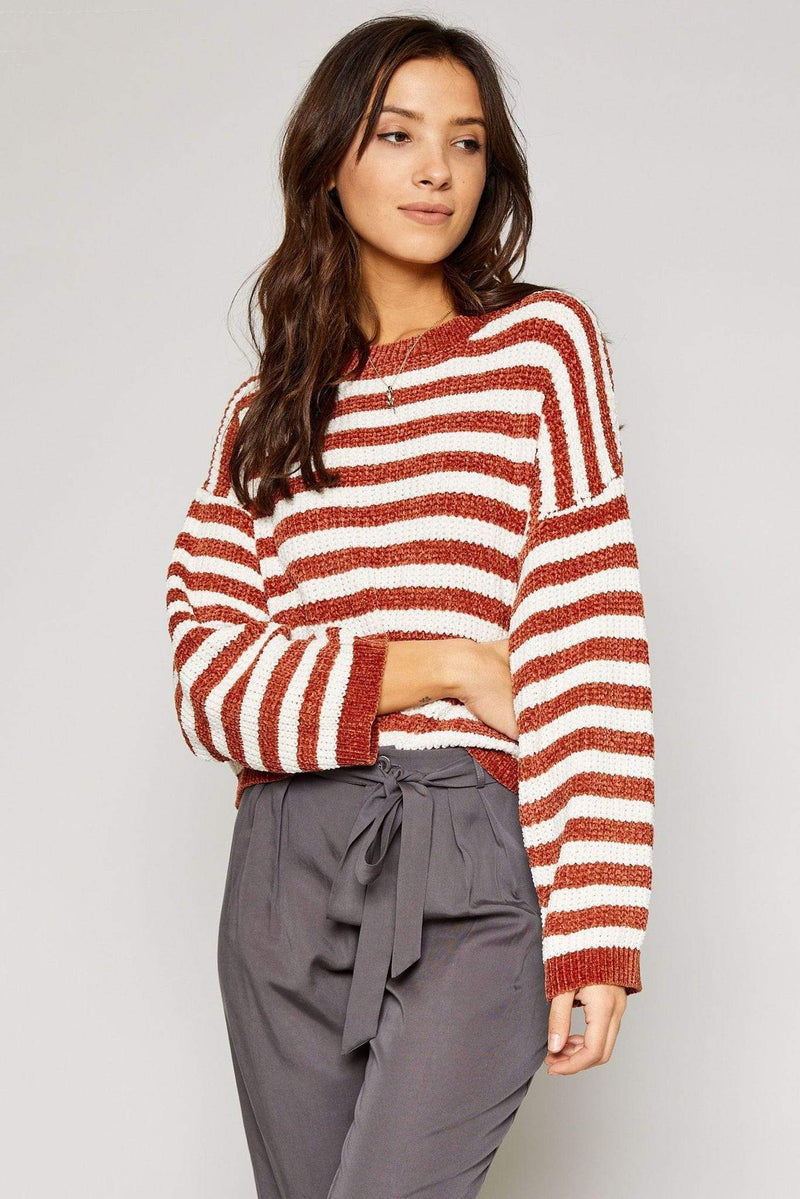 Sadie & Sage Sweater Medium / Spice / AA342685 Ione Stripped Sweater Spice