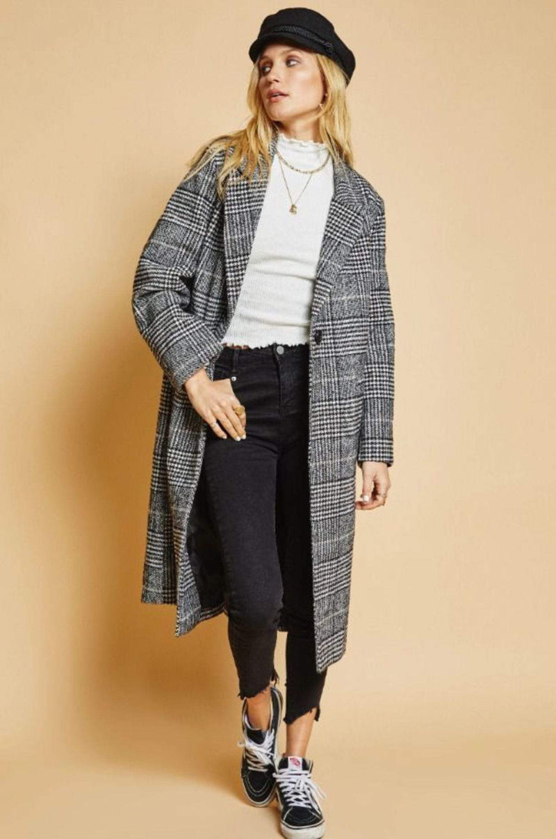 Sage the Label Jacket On the Streets Plaid Coat Black/White