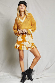 Sage the Label Skirt X Small / Mustard / LA261187 On The Sunset Mini Skirt Mustard
