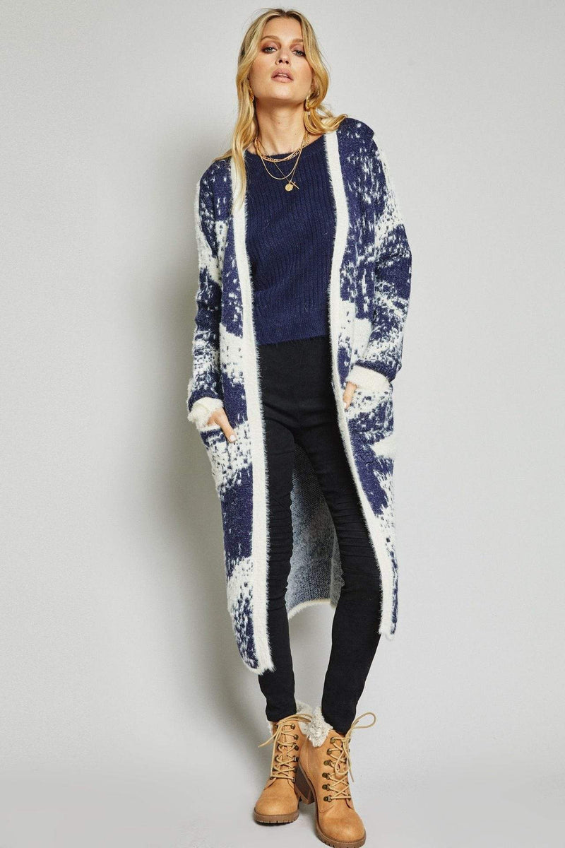 Sage the Label Sweater Rocky Mountain High Cardigan Navy/White