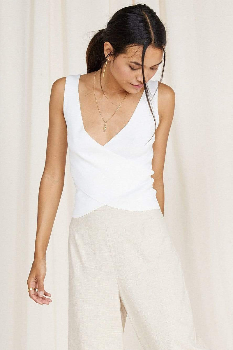 Sage the Label Tops Blouse Dellaray Knit Tank White
