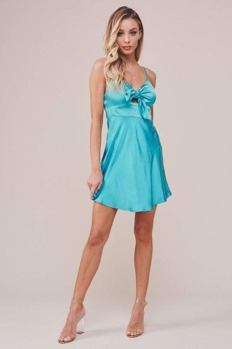 Selfie Leslie Dress Cecilia Satin Mini Dress Turquoise
